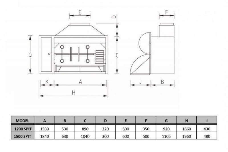 1200 & 1500 Spit Braai Dimensions