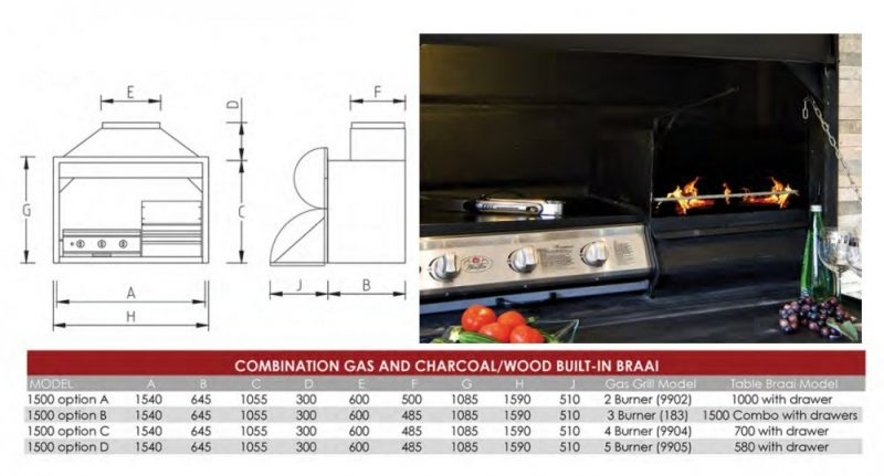 1500 Combo Dimensions Gas/Wood