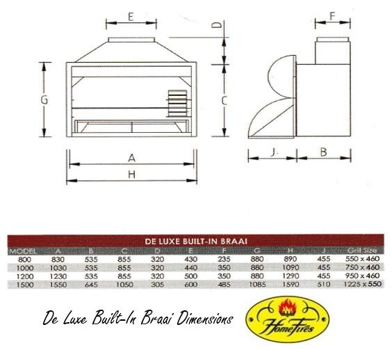 De Luxe Built-In Braai Dimensions