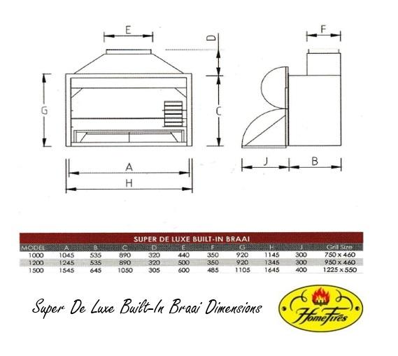 Super De Luxe Built-In Braai Dimensions