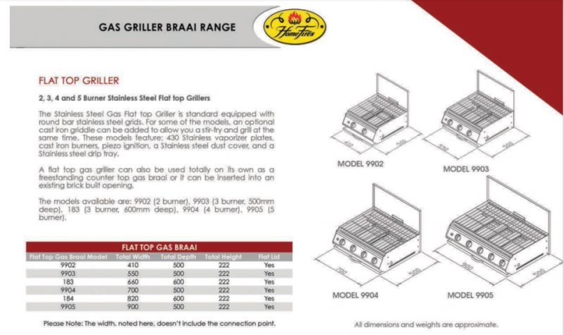 Gas Griller Dimensions